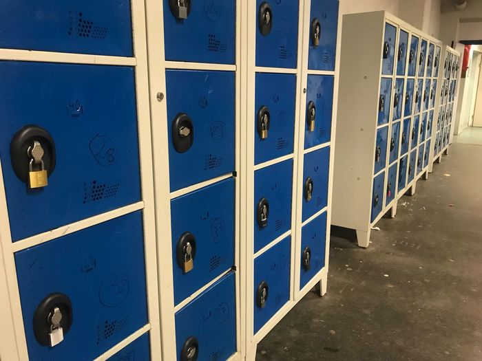 Safety Security Indoors  Locker Room Storage Compartment Locker In A Row Door Lock Protection Day No People Close-up Casiers High School
