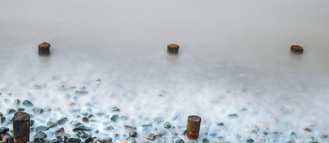 High angle view of water over stones