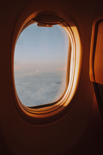 View of sky through airplane window