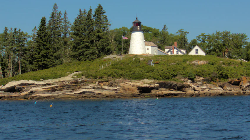 Boothbay Harbor Maine Architecture Beach Building Exterior Built Structure Burnt Island Lighthous Day Grass Lighthouse Nature No People Outdoors Sea Sky Tree Water