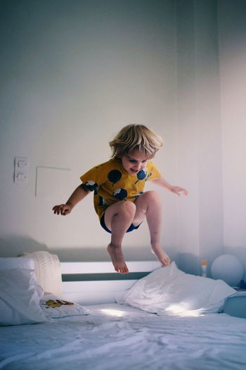 Bed Jump Kids Being Kids Children Only Children Photography Kids Fun Joy Play Child Full Length Skill  Jumping Childhood
