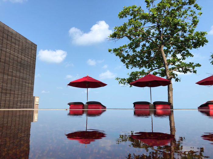 The Library Samui Thelibrary Koh Samui Kosamui Thailand Water Sky Nature Tree Day Plant Reflection Architecture No People Built Structure Red Swimming Pool Umbrella EyeEmNewHere My Best Travel Photo My Best Travel Photo