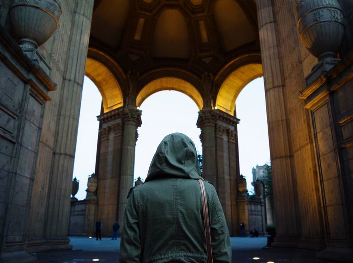Person standing at palace of fine arts