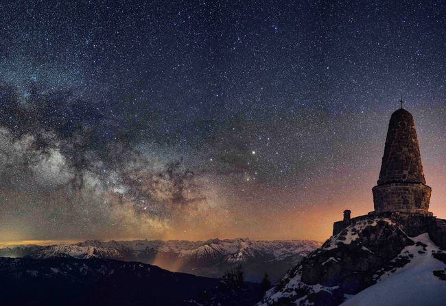 Star - Space Sky Night Galaxy Winter Snow Milky Way Travel Destinations Scenics Astronomy Architecture No People Cloud - Sky Beauty In Nature Space Outdoors Building Exterior Nature Rock Hoodoo Place Of Worship Grünten Sternenhimmel Astrophotography Milchstrasse
