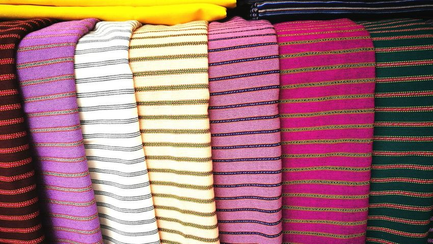 Multi Colored Backgrounds Full Frame Choice Textile Variation Retail  Stack Arrangement For Sale Colorful Collection Market Shop