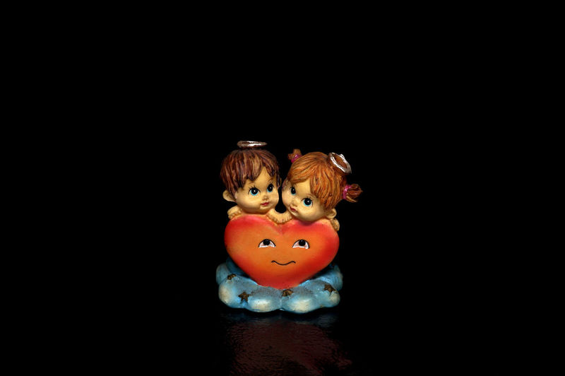 Angels Black Background Boy And Girl Children Close Up Cute Figurine  Kids Light Box Light Tent Love Low Key Still Life