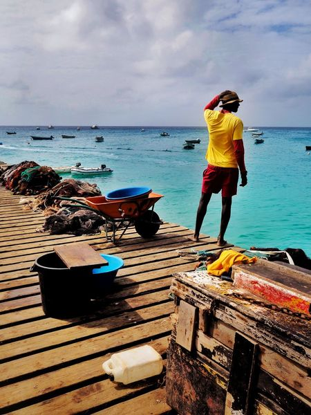 Fisherman The Week on EyeEm Travel Photography This Week On Eyeem Cabo Verde Fisherman Water Sea Sky Beach Real People Cloud - Sky Full Length One Person Horizon Over Water Outdoors