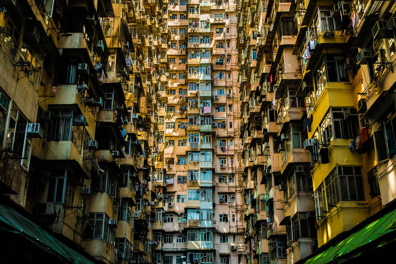 Low angle view of buildings in hong kong