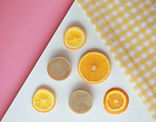 Freshness Fruit Fruitporn Healthy Eating Orange Orange Color Orange Fruits Pink Background Ready To Eat Slice Of Orange Slices Spa Sweet Table Table Cloth Temptation Vitamin Vitamin C Spa And Facial Triangle Shape Shapes In Nature  Pattern, Texture, Shape And Form Soap