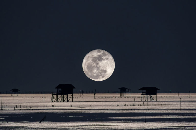 Full moon at dusk over House in the sea, Bang Ta Boon, Petchaburi, Thailand, Asia. Farm Moon Astronomy Bay Beach Beauty In Nature Idyllic Landscape Moon Moon Surface Nature Night Nigth  No People Outdoors Scenics Sea Sky Space Tranquil Scene Tranquility
