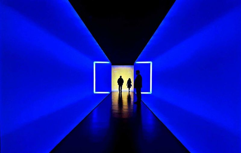 Goodbye Blue Two People Reflection Indoors  Illuminated Real People Light And Shadow Light In The Darkness JamesTurrell Houston Texas Houstonphotographers Communication Built Structure Only Men Adults Only Architecture People Adult Day