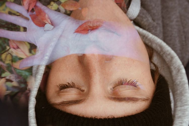 Surreal close-up of a woman lying down