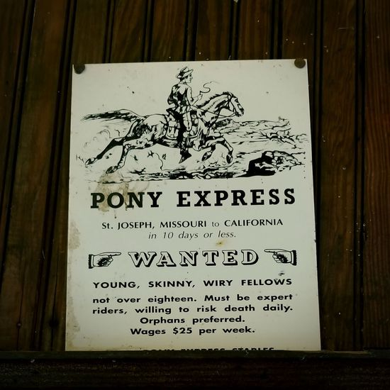 vintage pony express sign Pony Express Pony Express Trail Vintage Architecture Vintage Signage Vintage Signs Vintage Sign Vintage Ink Communication Text Close-up Written Message Information Announcement Message