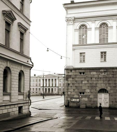 Walking Walker Alone Empty Streets Urbanphotography Helsinki Black And White Steetphotography