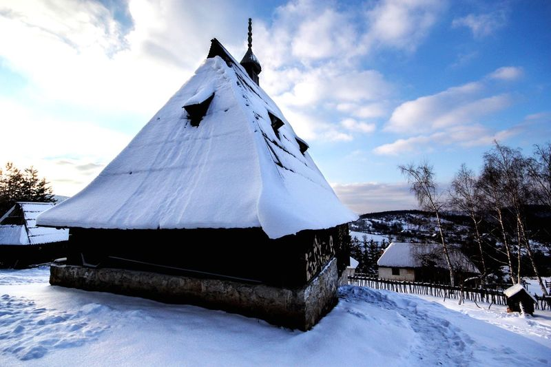 Sirogojno village in Zlatibor Snow Covered Zlatibor Serbia Snowcapped Mountain Snow Snow Cloud - Sky Cold Temperature Winter Sky Tree Nature Outdoors White Color Mountain Tranquil Scene Snowcapped Mountain Day Scenics - Nature No People Environment