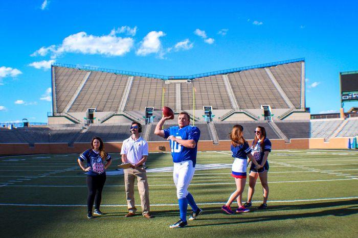 GO TEAM Exercising Sport Football Coach Girls Football Stadium Team Spirit Fun Outdoors