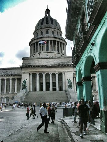 Street Photography Colonial Architecture Tourists Tourism Habana Havana Old Havana Cuba Cuba Collection Dramatic Colonnade Dome Cuban Flag El Capitolio  Dome Architectural Detail Arches Architecture Cuban Flag Wanderlust Been There.