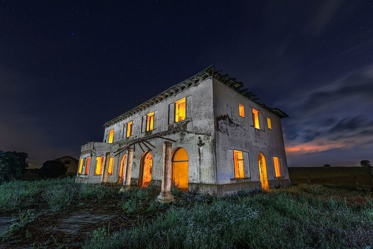 The Old station with lights at night Ruins Architecture Abandoned Buildings Night Photography Nightphotography Night Sky Star - Space Architecture Building Exterior Built Structure Star Space Astronomy Illuminated Building No People Window Scenics - Nature Capture Tomorrow My Best Photo Architecture History The Past Cloud - Sky Abandoned Outdoors