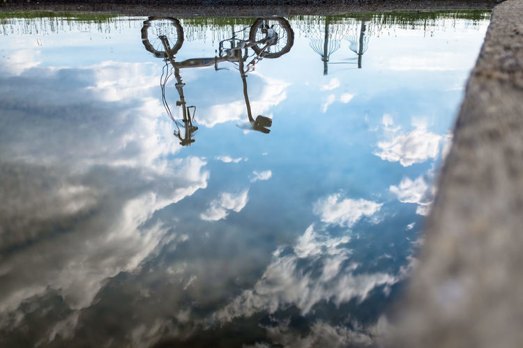 Reflection Bycicle Photography Bysicle Cloud - Sky Outdoors Reflection Reflections In The Water Sky Water