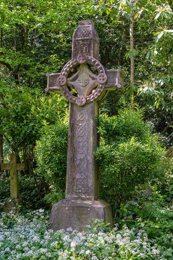 Stone sculpture in cemetery