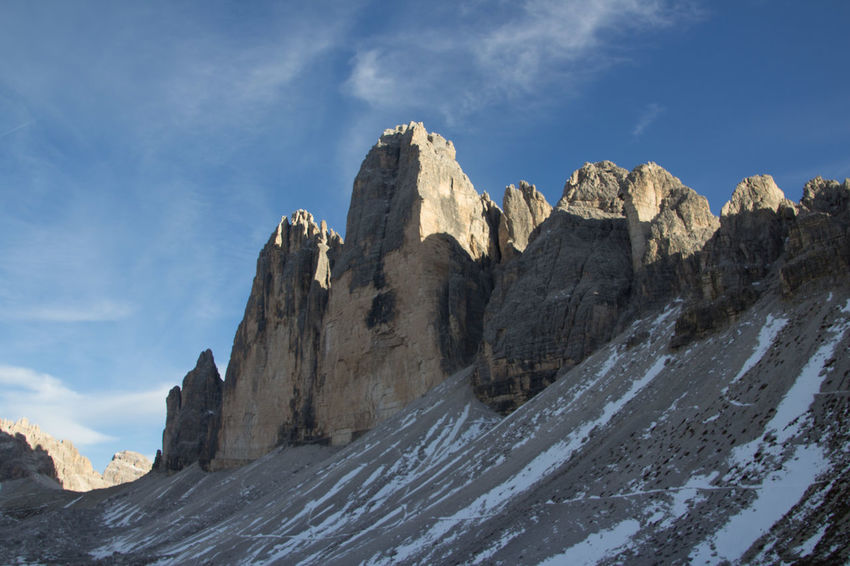 Beautiful National Park Beauty In Nature Cold Temperature Day Dolomiti Dreizinnen Formation Of Nature Mountain Nationalgeographic Nature No People Outdoors Rock - Object Scenics Sky Snow Tranquil Scene Tranquility