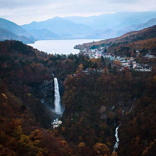 Perspectives On Nature autumn in Japan Mountain Nature Scenics Beauty In Nature Waterfall Mountain Range Outdoors Travel Destinations Landscape Autumn Nikko Kegon Falls