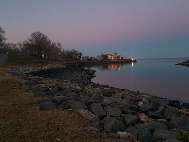A nice evening with a purple sunset at Glen Island Park, New Rochelle (3/18/2018) Water Sea Pebble Sunset Reflection Sky Landscape Horizon Over Water Tranquil Scene Scenics Low Tide Coastline Calm Rocky Coastline