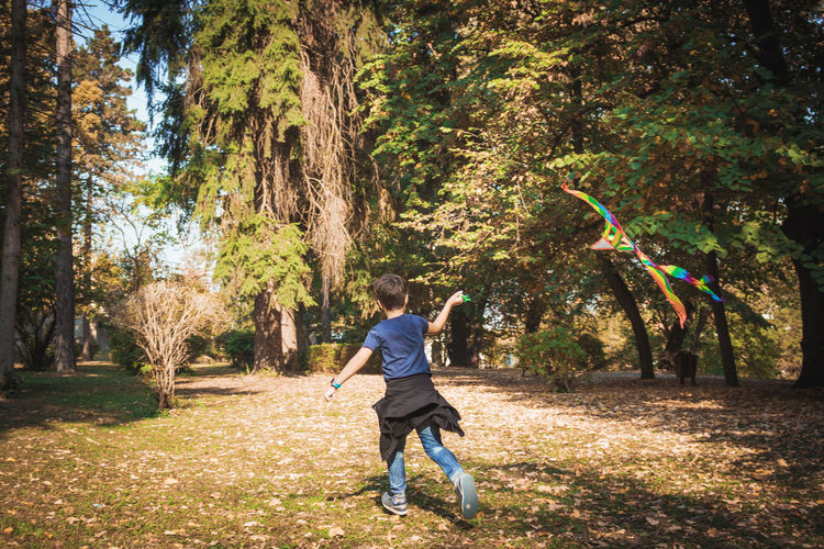 Rear view of boy running on grass amidst trees