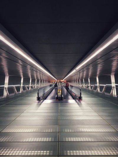 Transportation Architecture Indoors  Illuminated Ceiling Flooring Direction Built Structure Subway Public Transportation Lighting Equipment Modern Subway Station