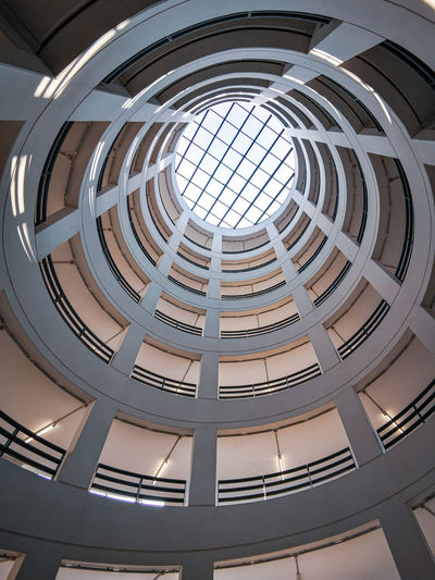 Low angle view of skylight in building