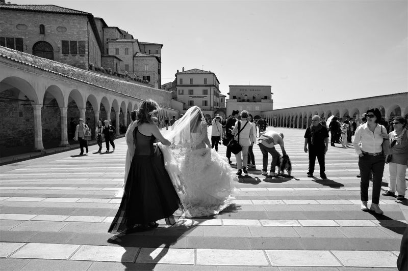 Assisi, Italy Bride Bridegroom Ceremony Day Happiness Large Group Of People Men Outdoors People Rice Wedding Wedding Ceremony Wedding Dress Women