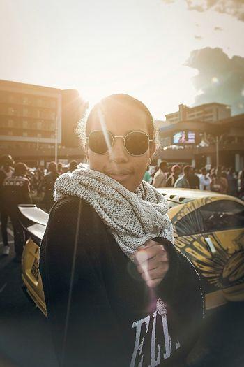 Photography EyeEm Best Shots Portrait Portrait Of A Woman Visual Creativity Beauty Close-up Wireless Technology Technology Happiness Crowd Sunlight City Posing