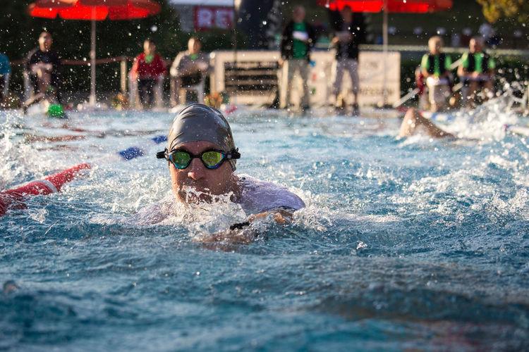 TRIATHLON Eyewear Lifestyles Men Motion Pool Real People Splashing Sport Swimming Swimming Pool Water Waterfront