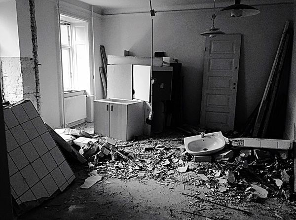 Renovation Renovating Apartment New Start Mess Kitchen Ruins Tearing Down Bricks Sink Black And White Photography Black And White Black & White Original Experiences Renovating the the first apartment my husband and I bought together Vesterbro, Denmark Vesterbro Fine Art Photography Monochrome Photography TakeoverContrast The Week On EyeEm