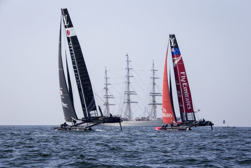 America's Cup World Series Muscat , Oman Emirates Team New Zealand Soft Bank Team Japan Visit Oman Sports Photography Sailing Yacht Race