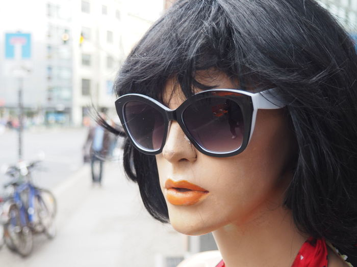 Black Hair Brown Hair Casual Clothing Close-up Cute Headshot Human Face Leisure Activity Lifestyles Lipstick Long Hair Manequin Not A Real Person Person Plastic People Portrait Sunglass  Sunglasses Wig The Portraitist - 2016 EyeEm Awards