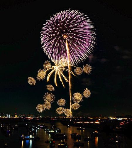 Night Illuminated Firework Display Exploding Firework - Man Made Object Arts Culture And Entertainment Celebration Sky Event Low Angle View Blurred Motion Long Exposure Multi Colored Firework Outdoors Motion No People City Building Exterior Water 戸田橋花火 EyeEmNewHere Event Reflections In The Water