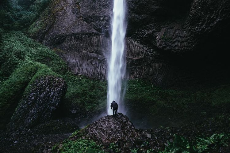 Rear view of man standing in front of latourell falls