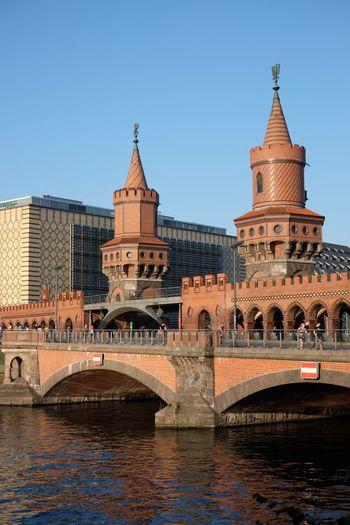 Oberbaum Bridge Over River Against Clear Sky