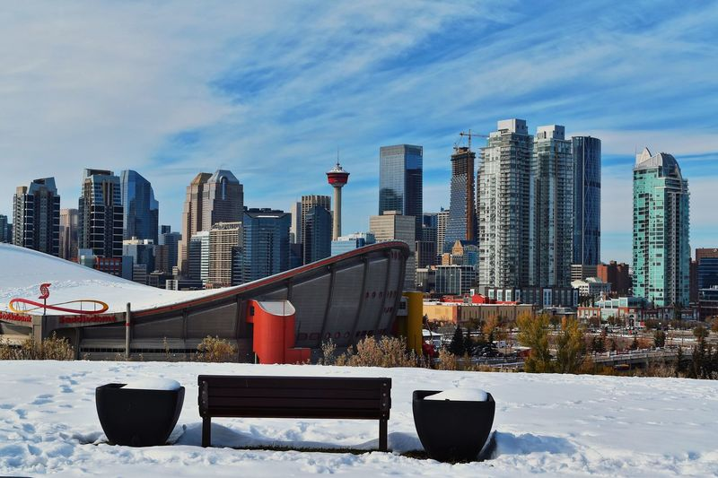 Downtown winter view of Calgary Travel Photography Travel View Calgary Buildings Blue Sky Architecture Built Structure Building Exterior Building Snow Cold Temperature EyeEmNewHere City Winter Landscape Office Building Exterior Sky Skyscraper Urban Skyline Modern Nature Tall - High Day Cloud - Sky Cityscape No People EyeEmNewHere