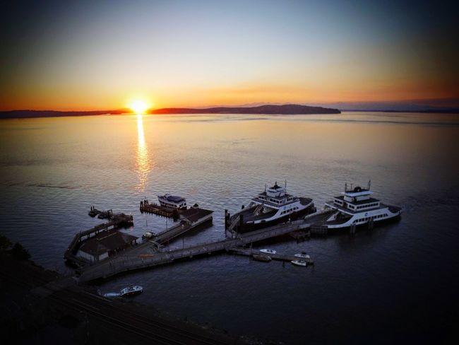 Last Light Ferries Dji Sunset Sea Sun Water Sky Scenics Outdoors Nautical Vessel Tranquil Scene