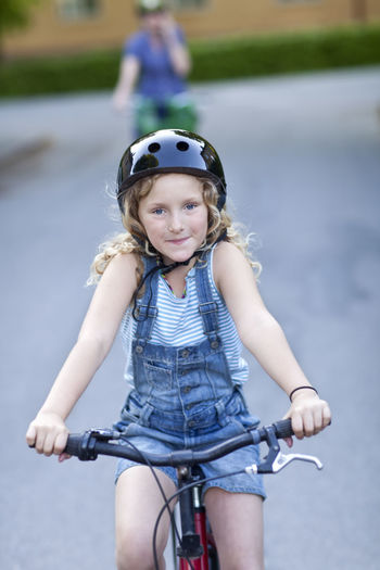 Portrait of a girl riding bicycle