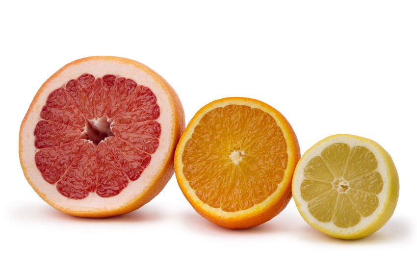 grapefruit, orange and lemon, isolated on white background Citrus Fruit Close-up Cross Section Day Food Food And Drink Freshness Fruit Grapefruit Grapefruit; Orange; Citrus; Fruit; Lemon; Isolated; Juicy; White; Fresh; Slice; Healthy; Nobody; Yellow; Group; Sweet; Freshness; Tasty; Section; Nutrition; Sliced; Delicious; Objects; Vegetarian; Ripe; Natural; Peel; Red; Organic Halved Healthy Eating Indoors  No People SLICE Sour Taste Studio Shot White Background
