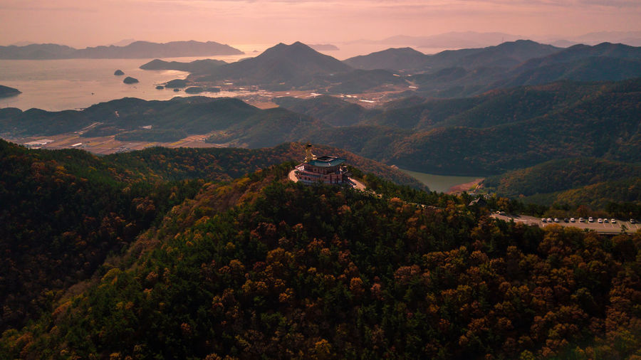 Aerial view of buddha temple on mountain