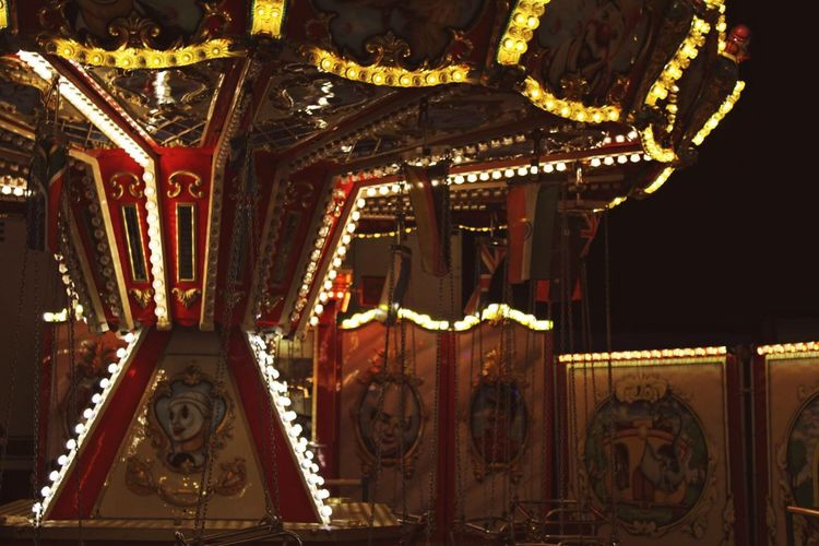 Amusement Park Arts Culture And Entertainment Carousel Night Outdoors