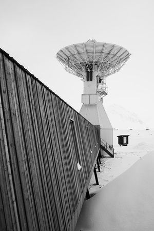 Radio telescope dish, Ny Alesund Antenna Arctic Astronomy Black And White Dish Mono Monochrome Ny Alesund Radio Radio Telescope Research Science Scientific Instrument Snow Svalbard  Winter Wintertime