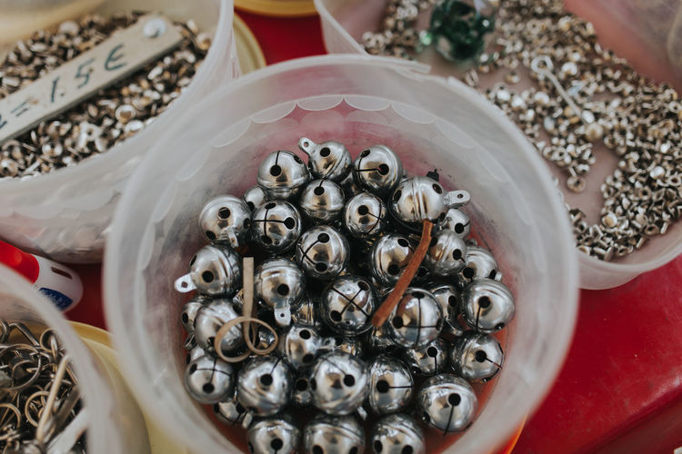 High Angle View Of Bells For Sale At Market Stall