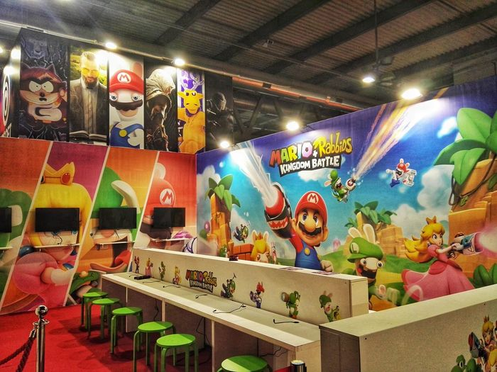 Multi Colored Ceiling Indoors  Low Angle View Variation Arts Culture And Entertainment Illuminated No People Day Videogames Videogiochi Nintendo Nintendo Switch Mario Mario And Rabbits Mgw Milan Games Week Games Presentation Games Week STAND Super Mario Videogame  Rho Fiera Console