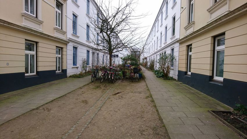 Back alley. Hamburg Germany Hh Back Alley Backalley Alley Road Horizon Perspective Lines Residential District Residential  Urban Landscape Urban Winter Tristesse Mystery Melancholy Soil City Sky Architecture Building Exterior Built Structure