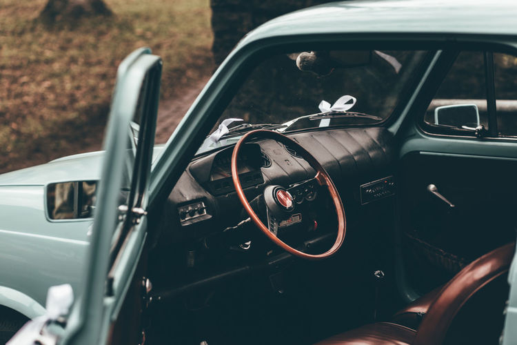 Blue Oldtimer Blue Vintage Car Car Car Interior Close-up Collector's Car Day Driving No People Old-fashioned Oldtimer Outdoors Steering Wheel Transportation Vintage Car Vintage Wedding Car Wedding Car Wedding Cards